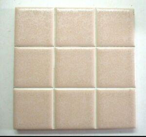 """Florida FT USA 1960 Scored 4-3/8"""" Ceramic 1 Wall Tile Crystalline Pink Beige Vtg"""