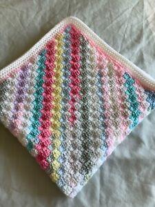 Hand crochet c2c baby blanket - multi coloured