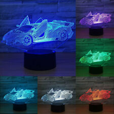 Racing Running Car 3D Illusion LED Table Lamp Changing Desk 7 Color Night Light