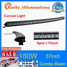"""Curved 37"""" 180W LED Work Light Bar Off road Single Row Combo Lamp RZR Boat VS 36"""