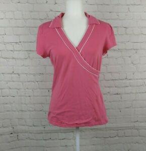 Athleta Women Pink V-neck Short Sleeve Top Size L