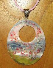 Peint À La Main gris rose FEDOSKINO MOP pendentif coquillage Collier signé