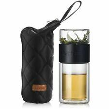 Water Tea Filter Bottle Infuser Travel Drinkware Portable Double Wall Glass