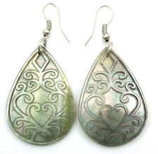 ELEGANT CARVED MOTHER OF PEARL earrings ; CA372-A