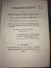 INFLUENCE DE L'EXERCICE SUR L'ÉCONOMIE ANIMALE. 1820MÉDECINE.