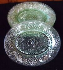 "SIX VINTAGE CHANTILLY GREEN TIARA 7""X8 1/2"" SNACK LUNCHEON PLATES"