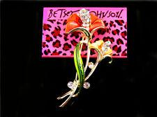 Crystal Calla lily Women's Brooch Pin New Betsey Johnson Fashion Jewelry Enamel
