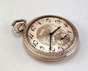 1925 Art Deco ELGIN Pocket Watch  GRADE 303 in 14K GOLD FILLED CASE - 12s - RUNS