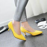 Ladies Pointy Toe Pumps Heels Office Patent Leather Slim Casual Women Shoe EUR48