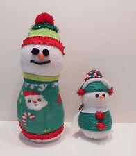 Sock Snowmen Figurines - Red/Green & Ear Muffs - Handmade - Rice Filled