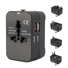 World Wide Travel Adapter US/EU/UK/AU Multi Plug Charger With Dual USB 2 Ports