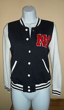 Women's Navy Blue White NY Letterman Varsity Snap Up Sweater Jacket