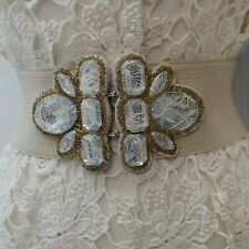 Womems Cinch Waist Belt Size s/m Ivory Beige Stretch Gold Beaded Accents Lace