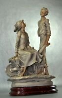 Italian Capodimonte porcelain Farm statue Lovers Young Boy and Girl Wheelbarrow