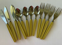Vintage Stainless Steel Silverware Golden Handle 12ct Set Of 4 Retro Yellow
