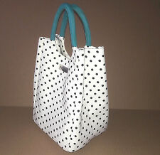 Ellen Tracy Stylish Lunch Tote Bag Polka Dot White Black Turquoise