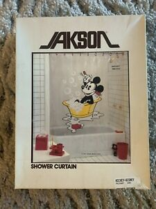 """Vintage Jackson Disney Mickey Shower Curtain 72""""x72"""" NOS New Made In USA"""