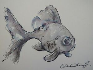 Original Pen and Ink wash drawing of a goldfish on ivory cartridge paper