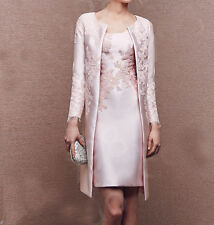 Lace&Satin Baby Pink Long Jacket Mother Of The Bride Dresses Formal Outfit Coat
