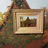 Plein Air Impressionist von 1857 Antik Ölgemälde Landschaft, Monogrammist F. E.