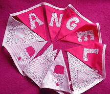 Girls PERSONALISED Hot Pink Bunting Christening Baby Birthday Present heart