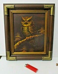 ARTISTIC INTERIORS ORIGINAL RARE OIL PAINTING OWL BRASS CORNERS FRAME