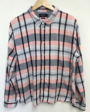 Paul Smith Mens Long Sleeve Pink Check Long Sleeve Shirt Size 2XL Slim Fit