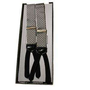 Trafalgar Silver Gray Geometric Pattern Suspenders Braces with Leather Tabs