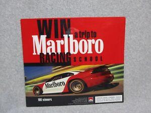 "13"" X 15"" Stiff Plastic STORE SIGN 1999 MARLBORO RACING SCHOOL Nascar Race Car"