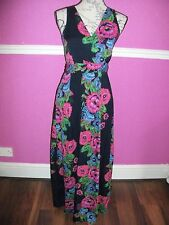 BNWOT NEW DOROTHY PERKINS  FLORAL MAXI DRESS V NECK 8 NAVY BLUE PINK GREEN LOOK