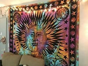 Psychedelic Celestial Indian Sun Hippie Tapestry Wall Hanging Throw Art Boho