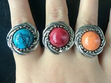 2pcs Fashion Jewelry Vintage Look Alloy Silver colors round Turquoise Ring