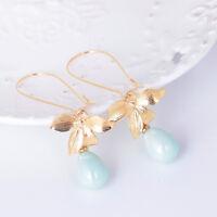 Charm Lady Ear Stud Orchid Flower Sage Green Pearl Earring Hook Dangle Jewelry