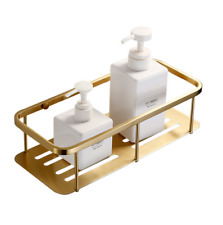 Wall Mounted Brushed Gold Bath Brass Shower Caddy Basket Storage Shelves
