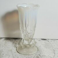 """Antique Northwood Dugan Footed Twigs Vase Early 1900s 4.5"""" Milk Glass Top OA4A20"""