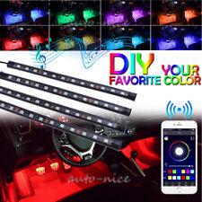 4x 12 LED RGB Car USB Interior Atmosphere Neon Strip Light Wireless APP Control