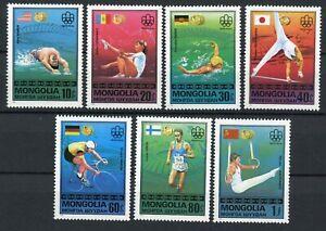 Mongolia Scott 928-934 Olympic Gold Medal winners MNH 1976 handstamp on reverse