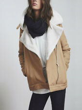 The Fifth Above & Beyond Beige Aviator Faux Sheepskin Fur Jacket XS S M L XL