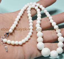 "New 6-14mm White Carving Coral Gemstone Round Beads Necklaces 18"" AA"