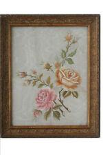 Antiguedad Gobelin-bordado-rosas, probablemente 19. siglo