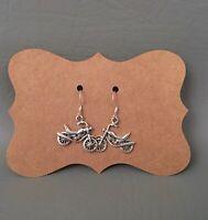 Vintage STERLING SILVER Signed .925 WTS Motorcycle Pierced Earrings Dangle