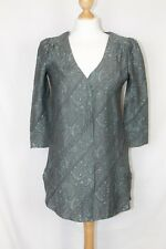 New Next Grey Blue Patterned Linen 3/4 Sleeve Long Blouse Button Tunic Top UK 6