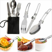 3Pcs Stainless Steel Folding Picnic Cutlery Set Knife Fork Spoon Utensil Camping