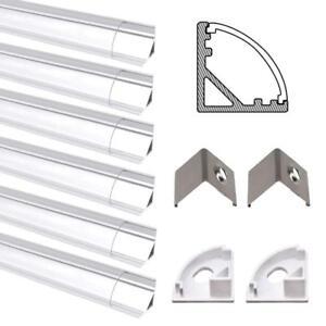 6 Pack 1M LED Aluminum Channel V-Shape Clear Cover For 5050 3528 LED Rigid Strip