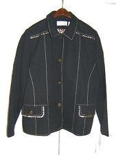 Alfred Dunner Size 12P Petite Ladies Black Urban Jungle Blazer Jacket (NEW)