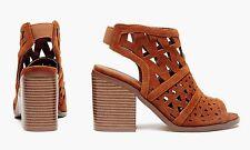 Women's Sociology Women's Laser Cut Block Heel: Cognac - 7