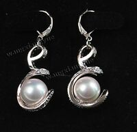 Hot 12mm White South Sea Shell Pearl Dangle Earrings AAA  2019