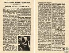 Albert Einstein 1955 Ny Times Avis de Décès Imprimé Prêt À Cadre Obit Bio