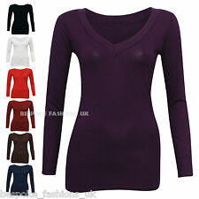 New Women's Long Sleeve Stretchy Body Hugging Viscose V-Neck Tops Sizes 8-18