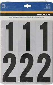 """Hillman 843445 Reflective Adhesive Mailbox Number Pack 3"""" Black and White"""
